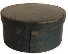 "F31 New England 19th Century Pantry Box, with original dry windsor green paint, with over lapping bentwood sides, secured with small metal tacks. Heavy construction Measurements are 8"" diameter x 4"" tall"