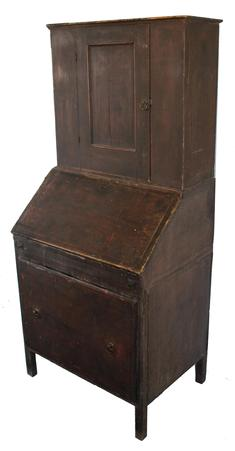 C54 Early 19th century New England Country Store Desk, with a drop front, pigon hold interior, one large dovetailed drawer, single panel door , that is full mortised and pegged.