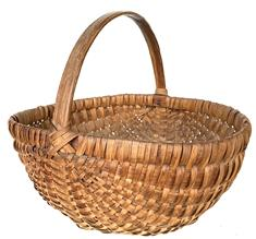 "X59 19th century ,  Melon gathering  basket, in original  dry surface, woven oak splits on bentwood frame, the handle is hand carved and steamed and bent, heavy construction 11 1/2"" tall x 14' long x 12"" wide"