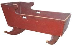 "S570 Pennsylvania  Cradle with the original dry red paint , dovetailed case cut out handles, signed A. J. Rabart,100% original circa 1830 Measurements are: 37"" long x 16"" wide 20"" tall"