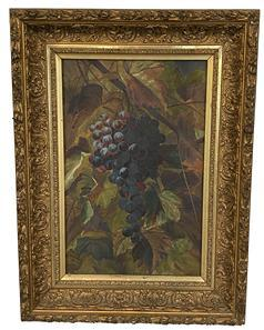 F275 Beautifully framed still life of Grapes on the Vine with detailed foliage in background. Very nice play of light on the upper left quadrant of the grapes as well as the foliage in that area. Unsigned. Iron Brackets on back of canvas are imprinted: �PAT FEB 1883 JUNE 1885 A.D.S.�.