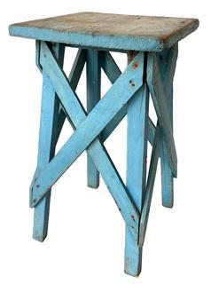 F417 Late 19th century plant stand beautiful dry original robin egg blue paint