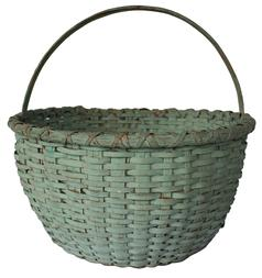 "B334 Virginia gathering Basket with the dry blue paint, nice high steamed and bent handle  the rim is double wrapped , with a kicked in bottom, very well made, it has a one small breaks, over all very good condition, tight, heavy Measurements are 15"" tall ( including handle) 16"" diameter"