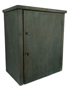 "E309 19th century Lancaster County Pennslyvania small one door hanging Cupboard, in the original dry blue paint, one board square head nail construction, circa 1850 Measurements are: 18 3/4"" tall X 15 3/4"" wide X 10 1/2"" deep"