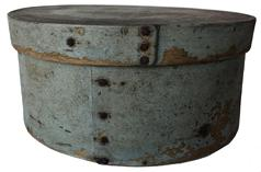 "F29 19th century outstanding Pantry Box with old dry grey  paint, heavy construction, bent wood round form with nailed lap joint Measurements are: 8 3/4"" diameter x 4"" tall"