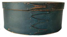 19th century Shaker Oval Pantry Box in old blue painted surface.  Measuring 10 1/2� long by 7 3/8� wide and 4 3/8� tal