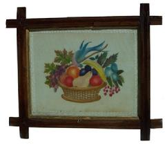 "X252 19TH CENTURY WATER COLOR THEOREM ON VELVET OF BIRDS AND FRUIT IN A BASKET Measurements are: 14"" x 12"""