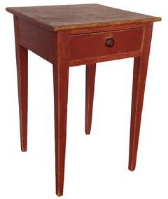 A118 Early 19th century one drawer Hepplewhite Stand, with a dovetailed drawer,with the original knob, beautiful original bittersweet paint, the top is one board held in place with square head nails. the base of the tabe is mortised, with tapered legs