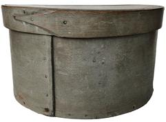 "E120  Early large size  19th century Pantry Box with the original dry slate gray paint, very heavy constucted, with a single finger lap on band of lid, hard to find size with wonderful paint   Measurements are:11 1/2"" diameter x 6 1/2"" tall"