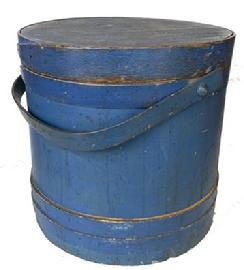 "F722  Large bottom of the stack   New England beautiful dry blue original painted  Covered Wooden Firkin, tongue and groove softwood staved sides, tapered lap joint wood bands, bent wood handle with wood peg attachments,14"" high . 15 1/2 "" diameter and bottom  14 3/4"""