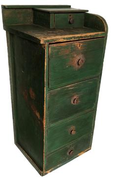 "E137 19th century very unusual Stack of drawers , Attributed to the Amish,  with the original  old painted surface, there is four large graduated dovetailed drawers and a smaller drawers on top which locks, this must have set next to a desk or counter. The wood is pine. Square nail construction, Original green paint. circa 1840  Measurements are  40.5""h. 19.5""w. 16.25""d."