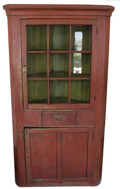 "IM 2 Original Red Paint Corner Cupboard: nine pane, one dove tailed drawer, found in Lancaster County, PA c 1830, one piece slag wood back side construction. Dim: 76""h x 40""w x 21""d"