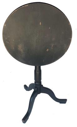 Y293 Late 18th century walnut candle stand, round tilt top resting on a banster turnded pedestal on a tri pod base, which is dovetailed into the base of the pedestal.