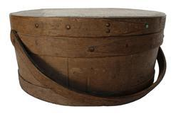 B288 Early 19th century over sized very unusual , bail handle Pantry ,with the original nutmeg painted surface, The Pantry Box is tongue and groove, softwood staved sides, wood bands with copper tacks , bent wood handle