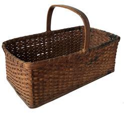 E356 Eastern Shore Maryland early 20th century Basket, wooden bottom Gathering basket. Very unusual form having a solid wooden bottom of pine