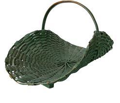 K311 Stunning split oak gathering flower basket, in the original dry green paint, nice high steamed and bent handle, with aplied feet to the bottom