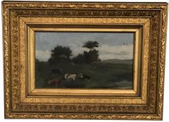 F17 Late 19th century Painting oil on canvass of Cows in pasture, with split rail fence in back ground also with flying geese in the sky. Mounted in the original gold gilt frame .
