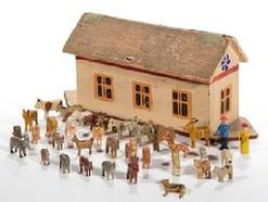 E210 GERMAN PAINTED WOOD NOAH'S ARK TOY WITH MINIATURE FIGURES, each piece with painted finish, ark having hinged roof with canvas supports, figures comprising two humans and various animals including a giraffe, camel, cow, donkey, and zebra. Unmarked.