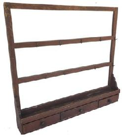 **SOLD** E230 COUNTRY PAINTED DRYING RACK, three rails mortised through end posts with ten wrought iron hooks
