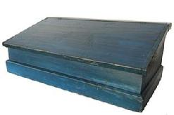 X386 19th century blue table -top Desk, New England, late 19th century, with a lift hinged slant lid on a nail constructed box, the interior is divided