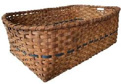 F138 Large Eastern Shore Maryland gathering basket or drying Basket. Natural patina with a dark blue band encompassing the basket. Heavy and very sturdy woven construction.