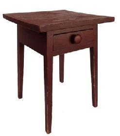 E208 Beautiful early Lancaster County Pennslyvania 19th century County Hepplewhite splay leg one drawer stand, in original red dry painted surface. Splayed dovetailed drawer, one board top, square head nail construction