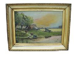 U306 Oil on Canvas with the original frame, signed by Artist J.W. Townley.