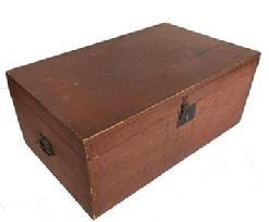 P286 NewEngland original red painted Storage Box with the original attic surface paint, all hardware is intact, the construction is dovetailed, circa 1850