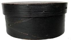 RM1091 19th Century small black painted lapped-seam Covered Box, America, round form with pine top and bottom and bent maple sides joined with opposing lapped fingers.