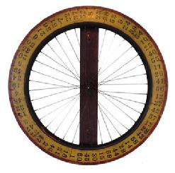 A312 Vintage Painted Wooden Carnival Game Wheel of Chance. A very unique wheel , made from a wooden Bicycle wheel, with the original mustard, red and black paint,The wheel is mounted on a board, for hanging,