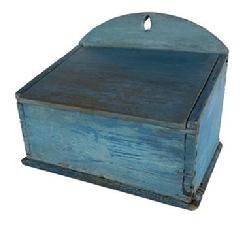 "G4 19th century Lancaster County Pennsylvania original blue painted hanging salt box, high ached back, canted lid, dovetailed case, circa 1820 Measurements are: 12"" wide x 9 3/4"" tall x 8 1/2' deep"