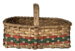E319 Early 20th century Gathering Basket from Delmar Delaware, with a single wrapped rim and a steamed and bent handle with two red woven bands and one green; which is typical of the type of Basket. It is heavy constructed.