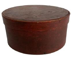 A190 New England 19th Century Pantry Box, with original dry red paint, with over lapping bentwood sides, secured with small metal tacks.