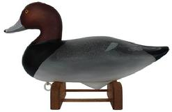 D22 Charlie Joiner redhead decoy, signed and dated 2008, this decoy is # 6 out of 25 carved for Madison Mithell Endowment Trust, March 14 2008 come with matching stand with brass plate ment condition