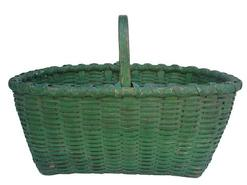 Y132 Late 19th century Gathering Basket with the original  green paint,with double wrapped rim, and a steamed and bent and notched handle, beautiful dry paint, One small break in bottom, very well made, heavy and tight woven