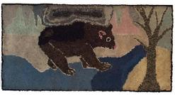 "A466 Folky New England Bear wool hooked rug, late 19th c. to early 20th c. professionally mounted for display. Measurements are: 20 1/2"" X 39 1/2"""
