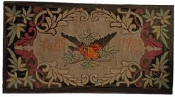T176 Early 20th century Hand Hooked dated Feb 9th 10903 , the Rug is done in a floral and leaf design, with Bird. It is clean, and professional mounted on frame
