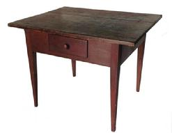 A37 Pennsylvania painted pine work table, 19th c, with a scrubbed top and red painted base