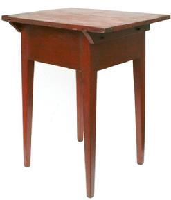 Z408  Early 19th century Hepplewhite side Table   Pennslyvania ,the wood is  pine.one board top held in place with wooden pegs, mortised and pegged with  Tapered legs, with original dry red paint