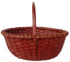 A10819th century wonderful small New England Nantucket oval Basket with old red paint,