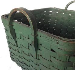 A163 19th century wonderful gathering Basket from Pennsylvania, with wonderful original Green-paint,Woven Splint Basket, it is a square with two carved hardwood handles, with beautiful green paint and patina outstanding condition