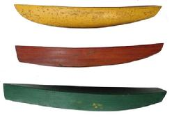 A242 Early 20th century Maryland Eastern Shore,set of three, pond boat builders patterns, each one is different in form, with the original beautiful paint., circa 1930