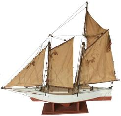 A243 Early 20th century Model of the Chesapeake Bay Bugeye, with a 48 star flag. The bugeye was a type of sailing work boat unique to the Chesapeake Bay. Designed for oyster dredging, it was also used for hauling freight in the Bay�s shallow waters.