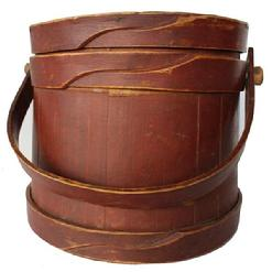 B389 Small New England original dry red painted Wooden Firkin, tongue and groove softwood staved sides, tapered lap joint wood bands, bent wood handle with wood peg attachment