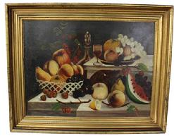 C70  19th century oil on canvas still life of Fruit in gold gilt frame circa 1865