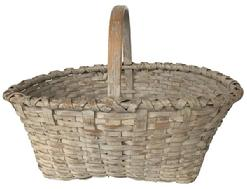 E50 Late 19th century gathering Basket with the original dry white paint, double wrapped rim ith a high temed and bent handle