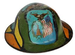 RM603 Patriotic New York WWI (1914-1918) trench art camo painted helmet.