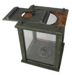 B37 19th century ,Lantern  pinned construction. Four windows are contained within a wooden box frame that is  pine; wonderful original green paint