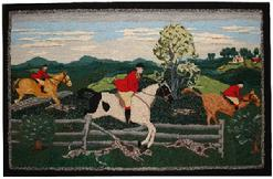 "Early 20th Century Hooked Rug ""Fox Hunt"" woven in bright colors depicting a Fox Hunt scene with Three Riders on very colorful Horses, and five Dogs in pursuit. In the back grown you can see a house with barn and trees. The Rug is in excellent condition, it has been professionally cleaned and mounted"