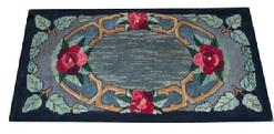 P423 Hooked rug of red flowers, the colors are red, black and blue, and grey, Pennsylvania Amish